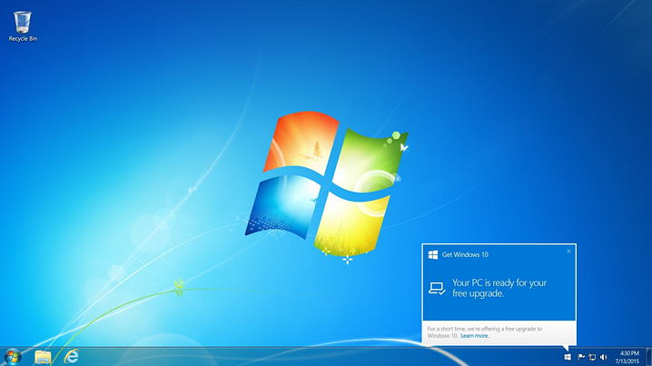 from Windows 7 to Windows 10