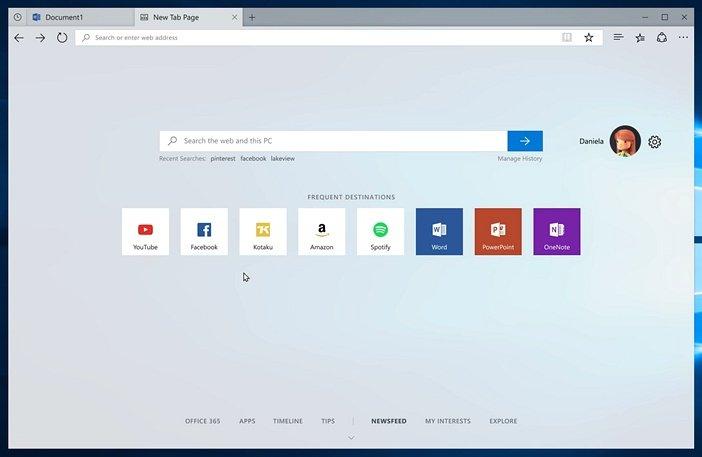 Страница новая вкладка наборов в Windows 10