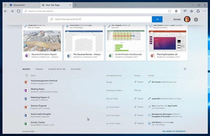Наборы Windows 10 Новая вкладка