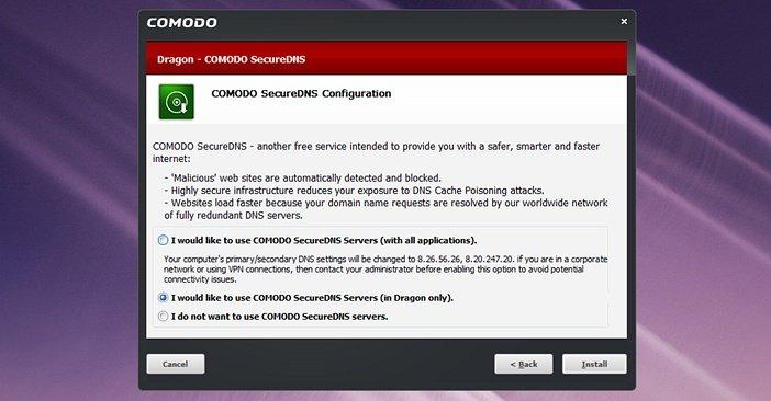 Защищённый DNS в Comodo Dragon