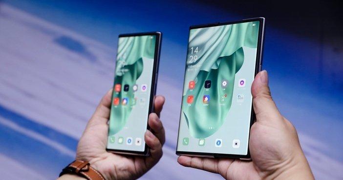 Увеличивающиеся смартфоны Oppo X 2021 с растягивающимся дисплеем