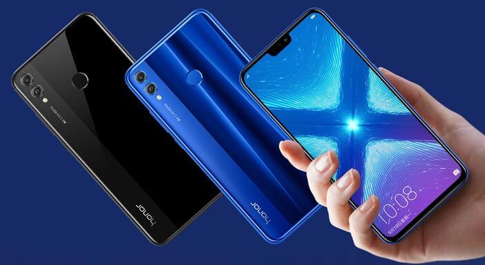 Honor 8X зеркальный синий и тёмный