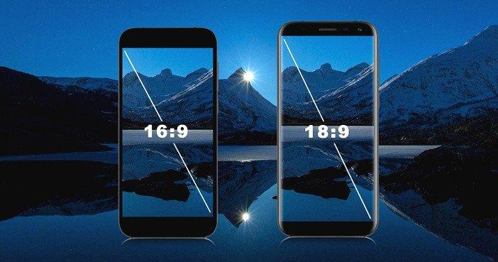 Смартфоны с соотношением дисплея 16:9 и 18:9 бок о бок