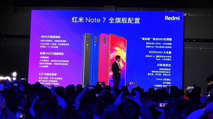Слайд с презентации Redmi Note 7 в Китае