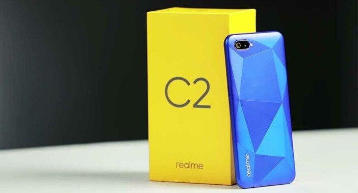 Realme C2 синий узор и упаковка