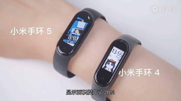 Размеры экранов Mi Band 5 и Band 4 в сравнении