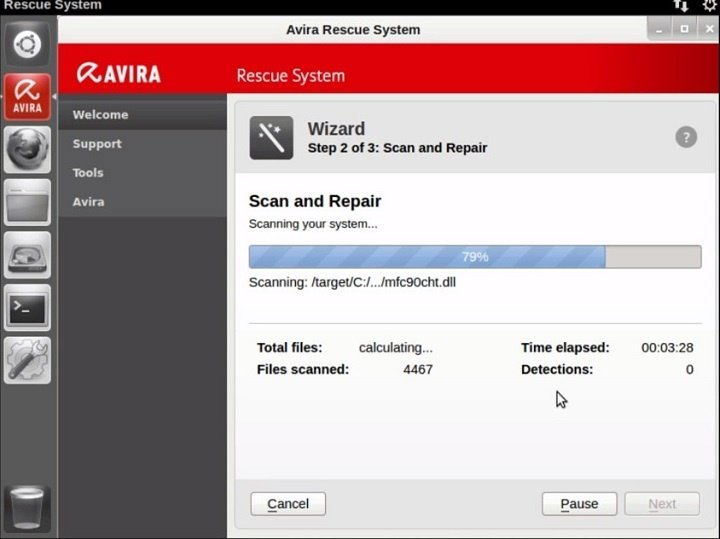 Avira Rescue System scan