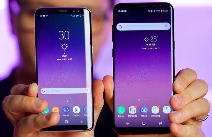 S9 и S9 Plus в руке