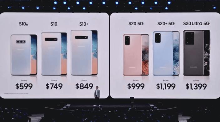 Официальные цены на Samsung S10 и S20