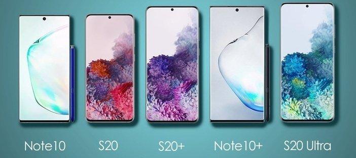S20, S20+ и S20 Ultra рядом с Note 10 и Note 10+