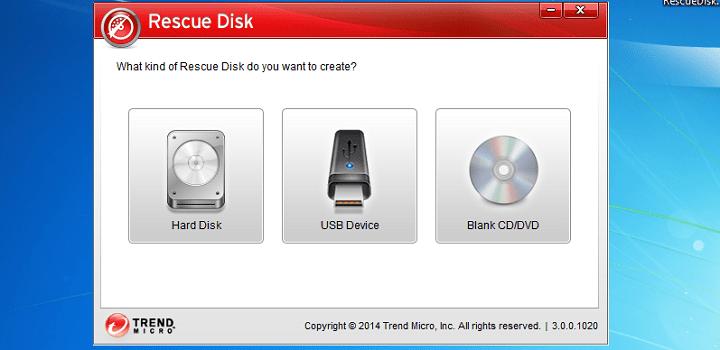 интерфейс Trend Micro Rescue Disk