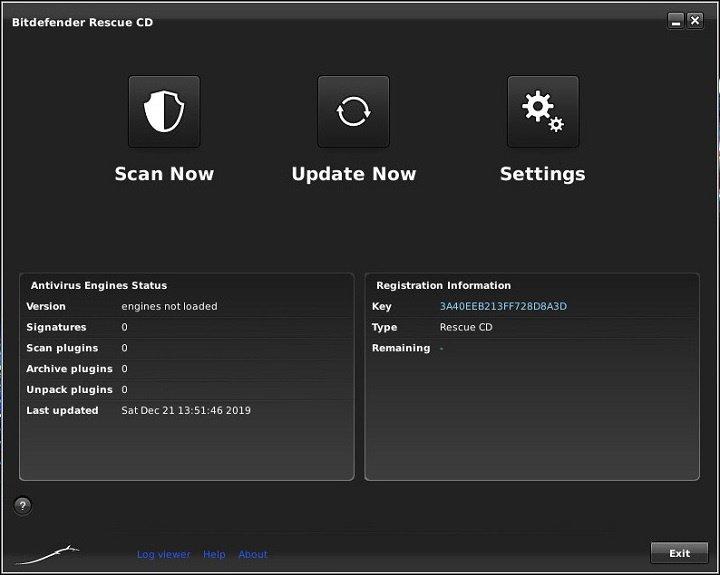 окно сканера Bitdefender Rescue Disk