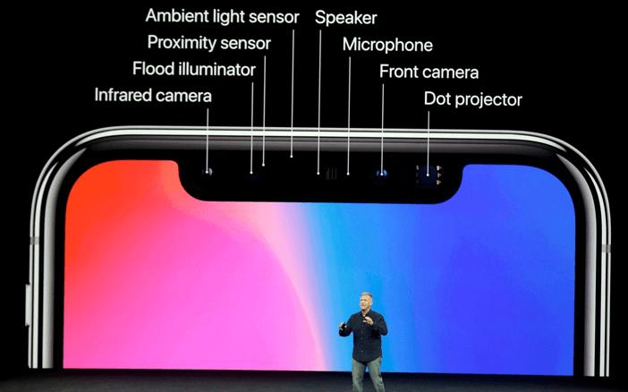Сенсоры в моноброви iPhone