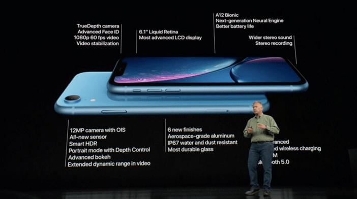 Основные характеристики iPhone XR, кадр с презентации