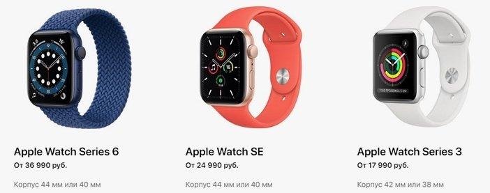 Цены на Apple Watch 6, SE и Watch 3
