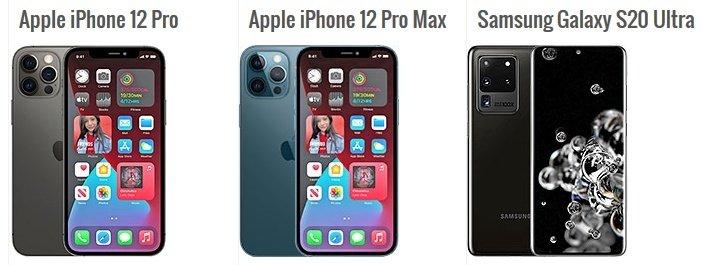 iPhone 12 Pro в сравнении с Galaxy S20 Ultra