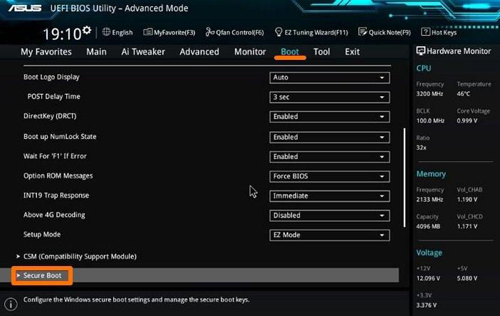 Режим UEFI BIOS для Windows 11